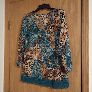 Teal and brown leopard print top